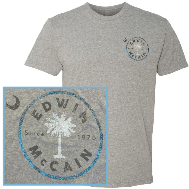 Edwin McCain Dark Heather Grey Logo Tee