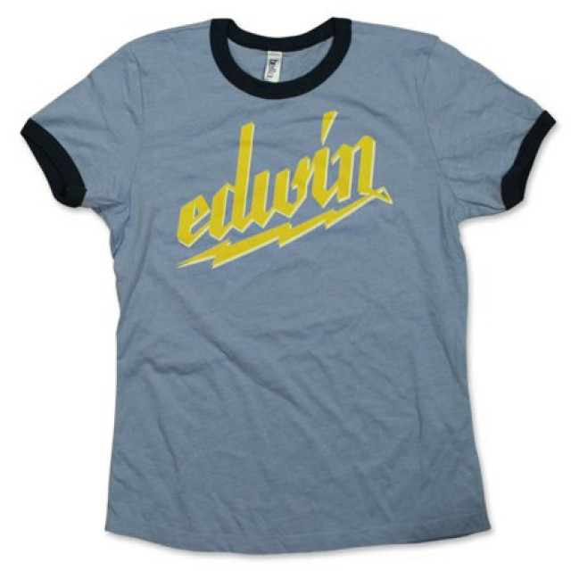 Edwin McCain Ladies Blue and Navy Ringer Tee