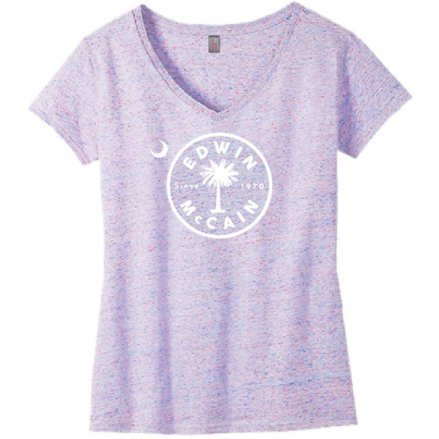 Edwin McCain Ladies White and Pink Cosmic V Neck Tee